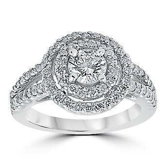 1 1/2 cttw Pave Double Halo kruhové zásnubní prsten 14K bílé zlato