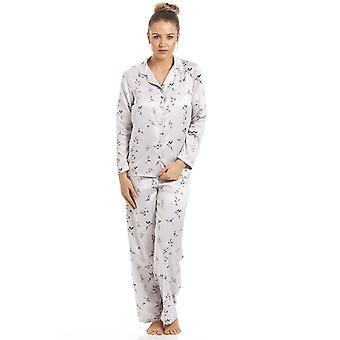 Camille Silver Humming Bird en vlinder Print volledige lengte satijnen pyjama's instellen