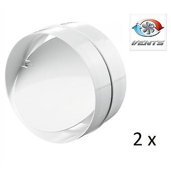 Backdraft Shutter / Coupler - For Ducting - (2 Pack) Fans - 125mm 5'' Round PVC - Vent - Back Draft