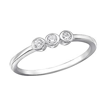 3 Stone - 925 Sterling Silver Jewelled Rings - W30357X