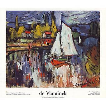 Une Vue de la Seine circa 1906 Poster Print by Maurice de Vlaminck (27 X 24)