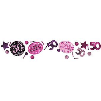 Amscan 1.2oz Pink 50th Birthday Sparkling Confetti