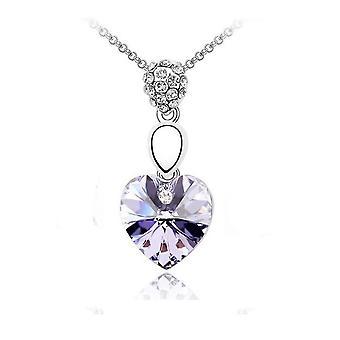 Naisten violetti hopea ketjun kristalli kaulakoru hopea