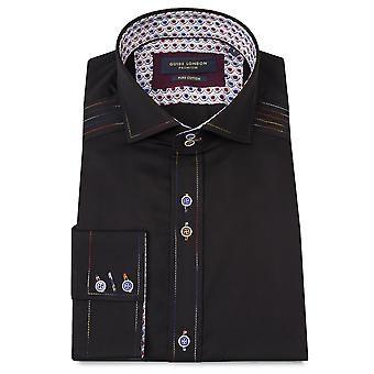 Guide London Contrast Stitch Black Mens Shirt