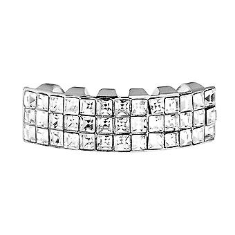 One Size Fits All Bling Grillz - INVISIBLE BOTTOM - Silber
