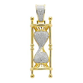 925 sterling silver micro pave pendants - gold HOURGLASS