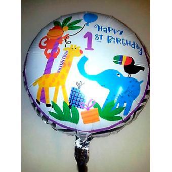Foil Balloon 'HAPPY 1ST BIRTHDAY ' Jungle Animals