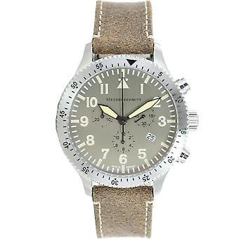 Aristo Messerschmitt men's watch stainless steel chronograph leather ME 5030ALU