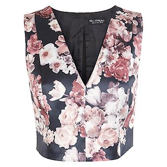 Miss Selfridge Evening Satin Floral V-Neck Cropped Sleeveless Top UK SIZE 6
