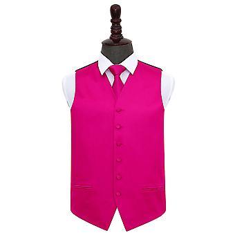 Hot Pink Plain Satin Hochzeit Weste & Krawatte nise Set