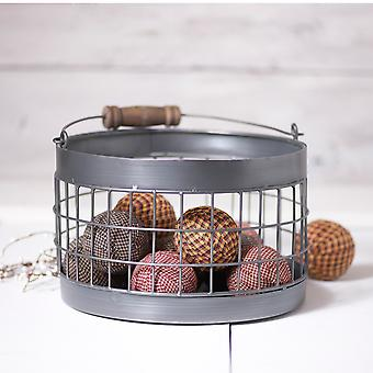 Irvin's Country Tinware Round Wire Basket in Antique Tin
