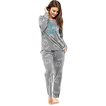 Senhoras longo inverno Polycotton alarme/Cuppa impresso Pyjama pijama pijamas conjunto