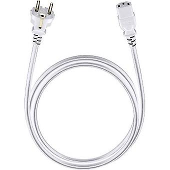 Cable de corriente [1x enchufe PG - 1x zócalo IEC C13 ] 3,00 m Blanco Oehlbach Powercord C 13