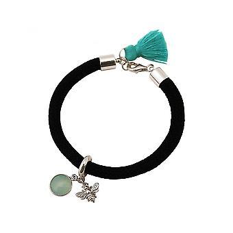 Women - bracelet - 925 Silver - gemstone - Aqua chalcedony - BEE - bee - Green - Black