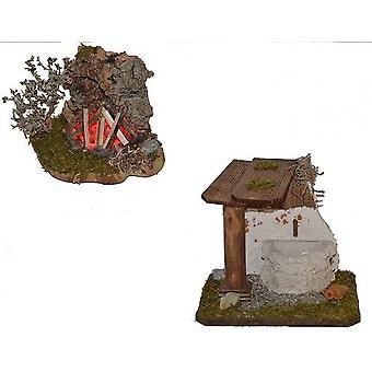 Nativity accessories stable Nativity set FOUNTAIN crib accessories campfire