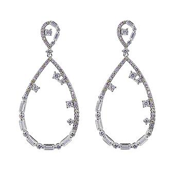 Orphelia Silber 925 Ohrringe Träne geformt mit großen und kleinen Zirkon Steinen - ZO-7423