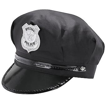 TRIXES Black Novelty Peaked Security Hat Police Cop Fancy Dress Theme Cap