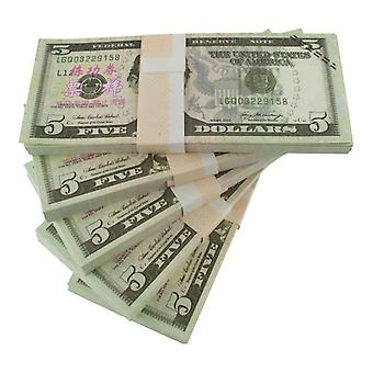 Play money-5 US Dollars (100 banknotes)