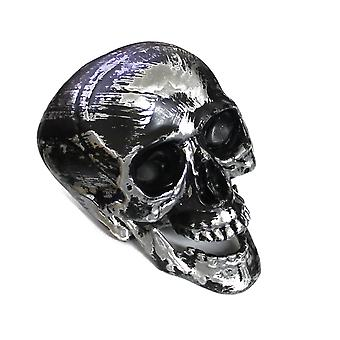 Black & Silver Plastic Human Skull with Movable Jaw