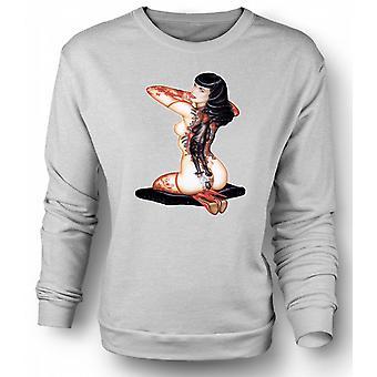 Womens Sweatshirt Katz- und Mausspiel Vintage Pinup