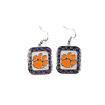 Clemson Tigers NCAA Polka Dot Style Dangle Earrings