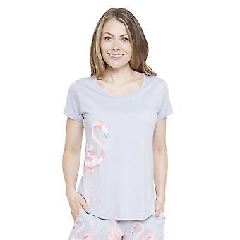 Cyberjammies 4120 Women's Zara Pink Flamingo Print Pyjama Top