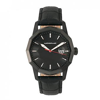 Morphic M56 Series Leather-Band Watch w/Date - Black
