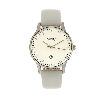 Simplify The 4300 Leather-Band Watch w/Date - Silver/White