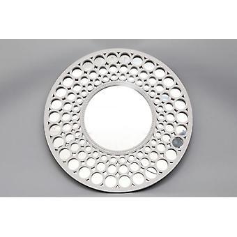 62x62cm Round White Mirror Vintage Design