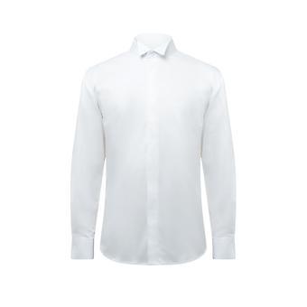 Dobell Mens White Tuxedo Dress Shirt Regular Fit Wing Collar Stretch