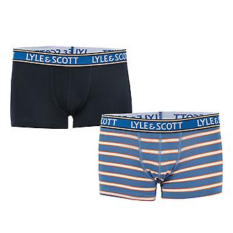 Boys Lyle And Scott Solid & Stripe 2 Pack Boxer Shorts In Navy-1 Pair Navy, 1