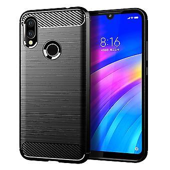 Xiaomi Redmi 7 TPU caso fibra di carbonio ottica spazzolato custodia di protezione nero