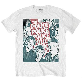 The Police Half Tone Faces T-Shirt - White/Black/Red