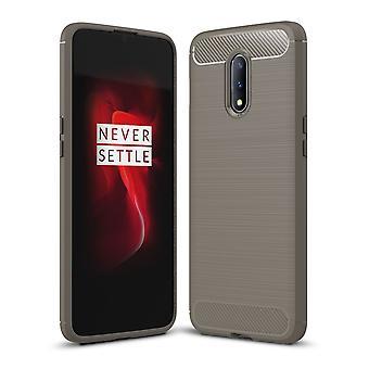 OnePlus 7 TPU Case Carbon Fiber Optik Brushed Schutz Hülle Grau