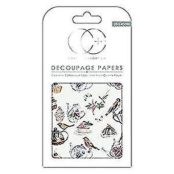 """Craft Consortium Decoupage Papers 13.75""""X15.75"""" 3/Pkg-Tea Party"""