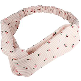 Molly & Rose Twist Knot Head Wrap Headband Pink Stripe/Pink Flower