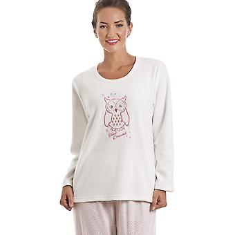 Camille White Fleece Owl Motif Pyjama Set