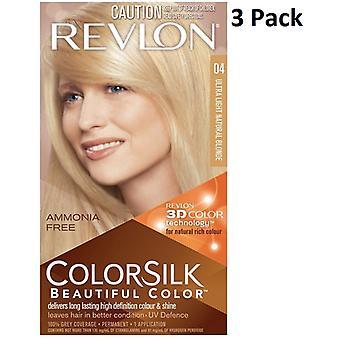 4 x Revlon Colorsilk ammoniakki ilmainen pysyvä hiusväri (04Ultra kevyt luonnollinen blondi)