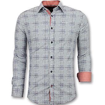 Men's Shirts long sleeve-Italian Blouse men-3006-Blue