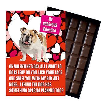 Novedad Chocolate perro amante San Valentín Día Regalo Negro Labrador Tarjeta de felicitación