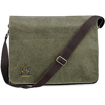 4th Queen's Own Hussars Veteran - Licensed British Army Embroidered Vintage Canvas Despatch Messenger Bag