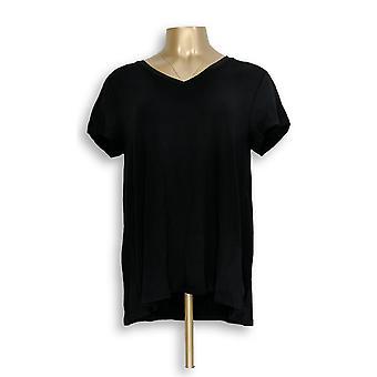 H by Halston Women ' s top Essentials V-hals voorwaarts zwart A306231