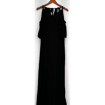 Kate & Mallory Dress Sleeveless Maxi Cold Shoulder Ruffle Black A433363