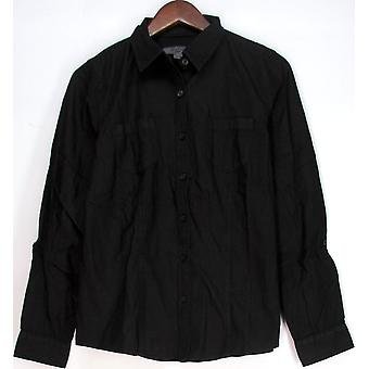 Liz Claiborne York Roll Tab Lightweight Shirt Top Denim Wash Black A203346