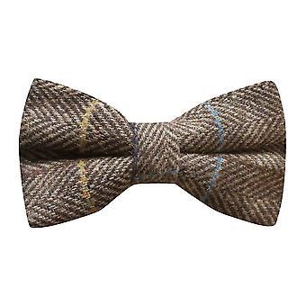 Luxe Walnut bruin visgraat-Check strikje, Tweed
