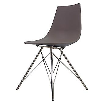 Fusion Living Iconic Slate Plastic Dining Chair With Chrome Metal Legs