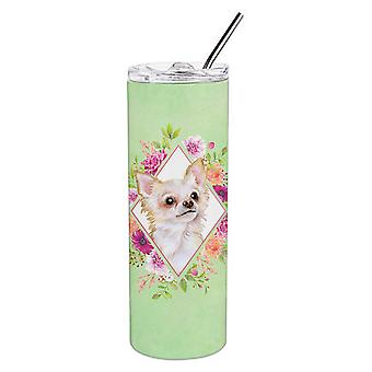 Long Hair Chihuahua Green Flowers Double Walled Stainless Steel 20 oz Skinny Tum