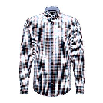 Fynch-Hatton Fynch Hatton Long Sleeved Shirt Zinfandel-blue Check