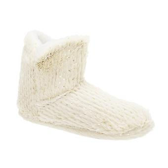 Slumberzzz Womens/Ladies Gold Spot Embossed Bootee Slippers