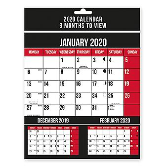 2020 Three Months To View Spiral Bound Wall Calendar